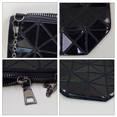 LAHAUTE Neue Ketten-Umhängetasche Diamantform Pailletten Handtasche Schultertasche mit Metallkette Grau Schwarz