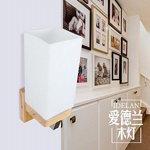 ycwl mesilla de noche estilo japonés nórdica lámpara de pared pasillo madera...