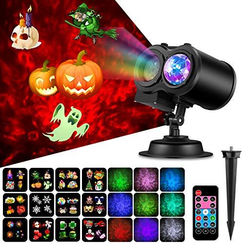 (COMLIFE 2 in 1 LED Projektor Lampe, IP65 Wasserdichte Projektionslampe mit Wasserwelle und 12 Muster, Weihnachtsbeleuchtung mit Fernbedienung für Halloween Weihnachten Party Geburstag Hochzeit)