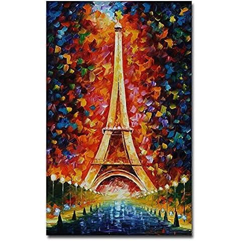 Hyper-drive Impresión en lona con la decoración de la Torre Eiffel Las bellas artes sin marco, 20x32 Inch