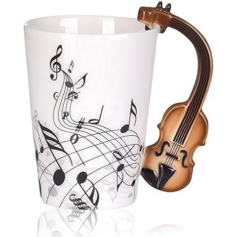 Gosear Taza cerámica con mango de Violín / Tazas de café té leche para Regalo de música de amor,Patrón de notas de violín Estilo de