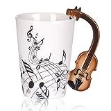 Gosear Taza cerámica con Mango de Violín/Tazas de café té Leche para Regalo de música de Amor,Patrón de Notas de violín Estilo de Libertad