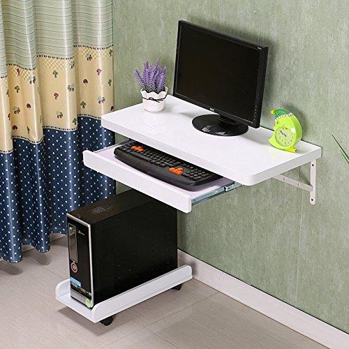 DEO Bureau d'ordinateur Bureau d'ordinateur mural d'ordinateur de bureau de table d'ordinateur portable de mur blanc avec le cadre de plateau de clavier durable