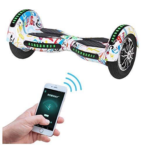Robway W3 Hoverboard - Das Original - Samsung Marken Akku - Self Balance - 21 Farben - Bluetooth - 2 x 400 Watt Motoren - App - LED (Weiß Bunt)