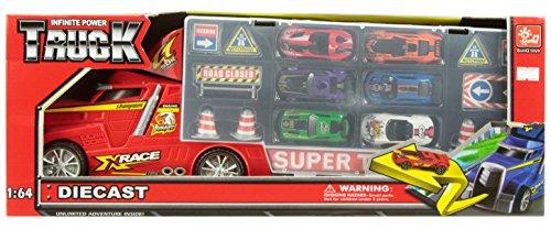 Riesen-lkw (Riesen LKW Truck Xrace 49 cm mit Tragegriff und 6 PKW Spielzeugautos Die Cast uvm)