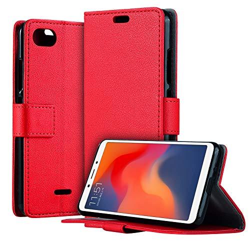HDRUN Xiaomi Redmi 6A Leder Hülle - Premium PU Leder Flip Tasche Case mit Kartensteckplätzen und Ständerfunktion Schutzhülle Handyhüllen für Xiaomi Redmi 6A, Rot