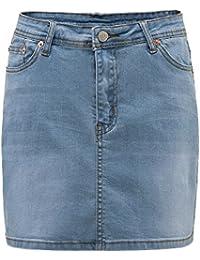 HONFON Femmes Sexy Extensible Denim Jupe Filles Haute Taille Mini Jeans  Jupes Au Dessus Genou Longueur cc40a0326fbd