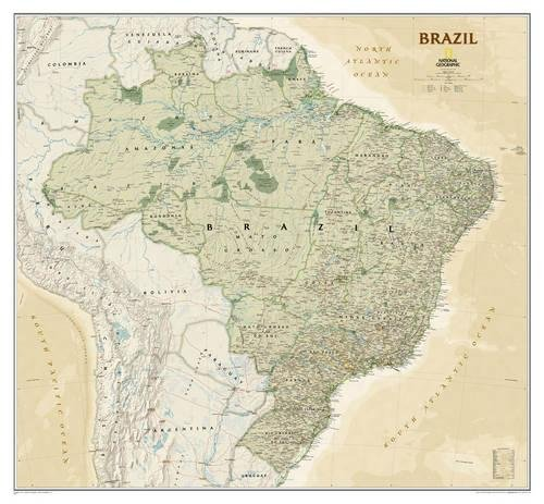 National Geographic: Brazil Executive Wall Map - Laminated (41 X 38 Inches) (National Geographic Reference Map)