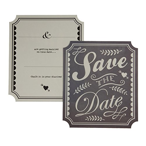 Weinlese Chalk Effect Save The Date Karten für eine Hochzeit oder Party X 10 wth Umschläge - Ginger Ray