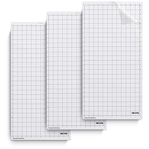 NICAPA Schneidematte für Silhouette Cameo 3/2/1 (Standard-Grip, 12x24 Zoll 3er-Pack) Haftende und rutschfeste Flexible quadratische, gerasterte Schneidematten Ersatz-Zubehörset Matten Vinyl Craft -