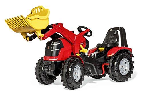 Rolly Toys 651016 rollyX-Trac Premium Traktor mit Lader   Trettraktor mit 2-Gangschaltung, Handbremse, Flüsterreifen, Motorhaube zum Öffnen, Sitzverstellung   ab 3 Jahren   Farbe rot