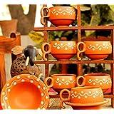 ADORNO Ceramic Tea Cups Set Of 6 With Saucers 150ml Ceramic Tea Cups / Ceramic Tea Cups Set Of 6 / Ceramic Tea Cup Set / Ceramic Tea Cup And Saucer