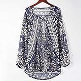 JUTOO Frauen V-Ausschnitt Langarm Chiffon Print Mode Bllouse T-Shirt Tank Tops(Blau,EU:46/CN:XL) Test
