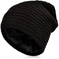 Vbiger Gorro de Punto para Invierno Boina para Hombre (Negro)