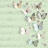 Atelier Servietten Motiv Home Petits Papillons mint 33 x 33 cm