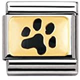 Nomination Composable Classic TIERE - LAND Edelstahl, Email und 18K-Gold (Abdruck Hundepfote) 030212