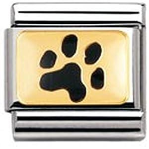 Nomination Composable Classic Tiere – Land Edelstahl, Email und 18K-Gold (Abdruck Hundepfote) 030212