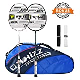 Whizz Badminton Schläger Set Racket 100% Graphit Carbon 2 STK. Verbesserte Version mit Rahmen Schutzhülle & Schlägertasche & 2 Griffbänder (Schwarz+Weiss)