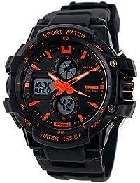Reloj doble / deportes al aire libre de los hombres / reloj electrónico impermeable de la montaña / reloj multi-función del salto , small orange
