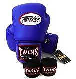 Twins Special - guantes de boxeo. BGVL3, color: negro rojo verde naranja blanco azul, tamaño: 10 12 14 16 oz. Guantes de boxeo entrenamiento/para Muay Thai, boxeo, MMA (azul, 10 oz) por Twins Special