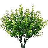 4 arbustos artificiales Houda para plantas de césped de plástico, hojas de eucalipto, arbustos falsos, decoración para el hogar y el jardín