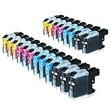 20 Tintenpatronen alternativ zu Brother LC-225XL 227XL, MFC-J4420DW MFC-J4620DW 4-in1, DCP-J4120DW MFC-J4425DW MFC-J4625DW, Schwarz je 28ml, Color je 13ml