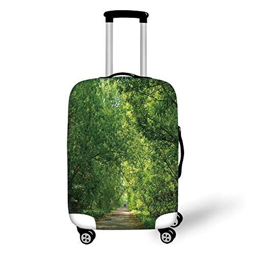 Travel Luggage Cover Suitcase Protector,Landscape,Fresh Forest Canopy Trees Over Footpath in an Old Park People Walking Natural Scenery,Green,for Travel
