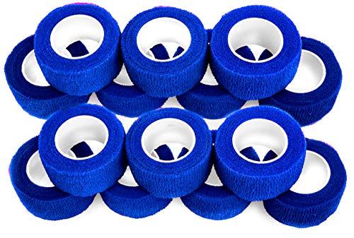Fingerverband, sensitiver Fingerschutz, Schnittschutz in Küche oder Garten, selbstklebende Fingerbandagen, wasserfestes Duschpflaster 2,5 cm breit, dunkelblau - 14 Rollen