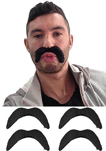 4 x Schwarz Zum Aufkleben Falsch Tash Lenker Schnurrbart Mexikanisch / 118 / YMCA Kostüm Party Zubehör