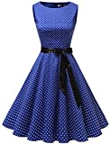 Gardenwed Damen Vintage 1950er Partykleid Rockabilly Ärmellos Retro Cocktailkleid Royal Blue Small White Dot XL