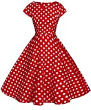 FAIRY COUPLE 1950S Retro Rockabilly Tupfen Kappen Hülsen Abschlussball Kleid DRT019(2XL,Rote weiße Punkte)