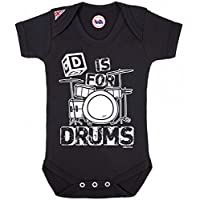 D Is For Drums Music Baby Grow By BritTot Boys Girls Unisex Bodysuit 3/6