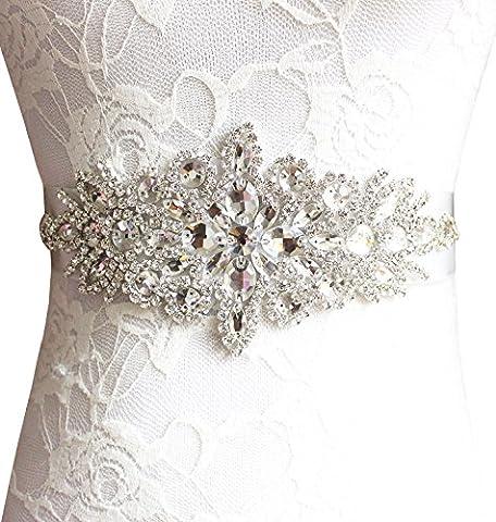 BABEYOND Bague de mariage en strass en perles en similicuir Ceinture en perles en strass Ceinture en strass Appliance pour ceinture de mariage pour les robes de soirée de mariage (Nudepink)