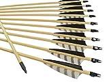 Arrowforge - 12 Stück Holzpfeile Pfeile für Bogen 4 Shield Barred Leitfeder / Bogensport / Bogenschießen