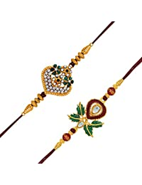 Mahi Gold Plated Combo Of 2 Sparkling Crystals And Kalash Rakhis With Artificial Pearl For Adorable Brothers (...