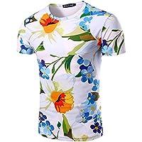 Hombres camiseta de manga corta 3D Slim Short-Sleeve Camiseta,M