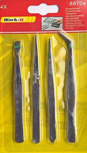 Preisvergleich Produktbild WORK-IT® Pinzetten Set 4-teilig - Edelstahl, rostfrei