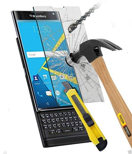 Funnytech_ - Cristal templado para Blackberry Priv (No cubre el borde curvo). Protector de pantalla transparente para Blackberry Priv. Vidrio templado antigolpes (Grosor 0,3mm) – Kit de instalación incluido