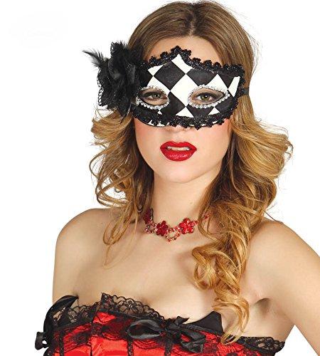 Karneval-Klamotten Kostüm Maske Harlekin schwarz-weiß Zubehör Clown Karneval