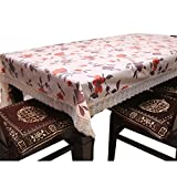 #7: Kuber Industries PVC Dining Table Cover 6 Seater Silver Lace 60*90 Inches (Exclusive Design) KI16512