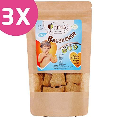 Primus Handgemachte Baby-Kekse mit Kokosblütenzucker gesüßt, 3x 100 g Dreierpack, speziell für Babys ab 6 Monate abgestimmt, glutenfrei und vegan