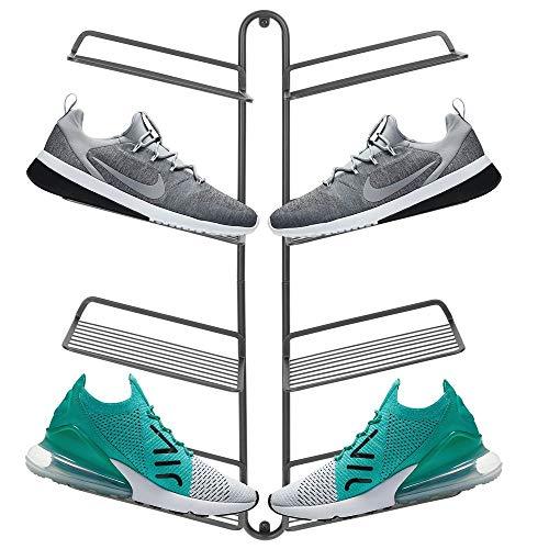 Wand-schuhregal (mDesign Schuhablage - modernes Wand Schuhregal für vier Paar Sneaker, Sportschuhe etc. - platzsparende Alternative zum Schuhschrank - grau)