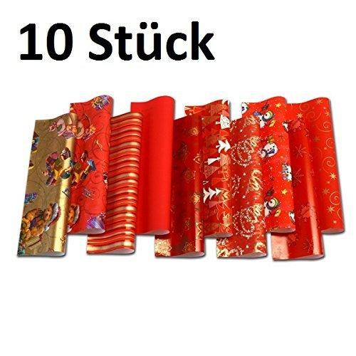 10 Rollen Weihnachtspapier, Geschenkpapier Weihnachten 2m x 0,70m