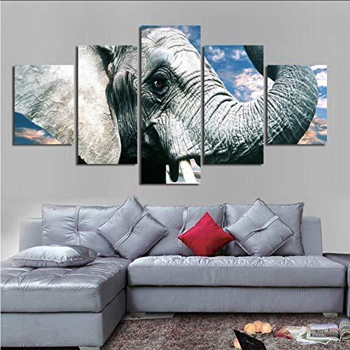 hhlwl Moderno marco de pintura modular 5 paneles de elefantes cielo azul...
