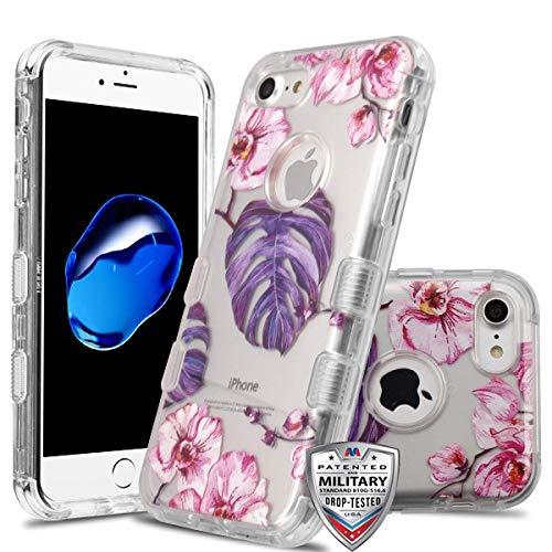 Schutzhülle für Apple iPhone 7/8 (auch geeignet für 6 / 6S, Aber Nicht für Kopfhörer) MYBAT transparent/violett Monstera lila Blätter/rosa Blumen -