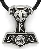 Viking Odin nórdico Thor martillo de cabeza de lobo colgante collar, color plateado envejecido piel escandinavo nudo Raven Mjolnir Ladies Hombres celta nórdico NORDIC Rune Talisman Saxon
