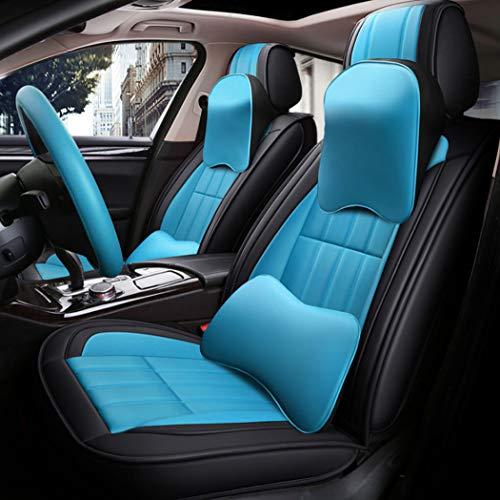 Y&Jack Super PDR 11pcs Bucket Seat Cover Slitrlow Backing Pu Leather Car Seat Cover Cushion 5 Seats Full Set für die meisten Autos, Geländewagen, LKW und LKW,Blackblue