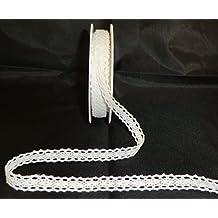 Schleifenband SPITZE 10m x 10mm SPITZENBORTE Dekoband Borte [273] (weiß - 1)