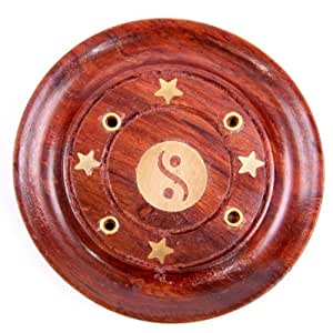Feng Shui - Porte-encens yin yang en bois de rose fait à la main