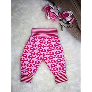 Baby Pumphose Schlupfhose newborn Gr. 56-68 Elefanten rosa Mädchen